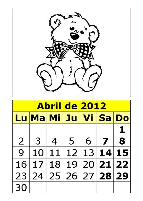 CALENDARIOS INFANTILES 2012  PARA PINTAR