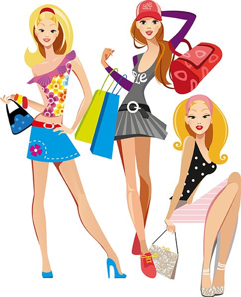 Chicas modernas de compras - vectorial