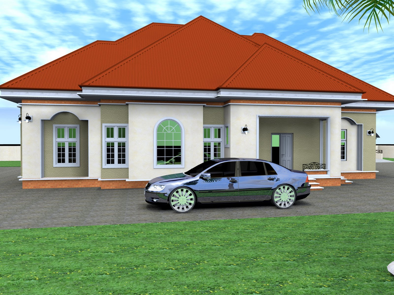 Residential homes and public designs 3 bedroom bungalow for 3 bedroom bungalow house designs