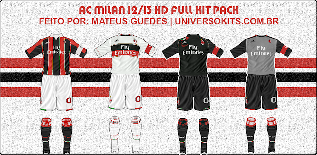 FIFA 12 AC Milan Full Kit Pack HD 12/13 by Mateus Guedes