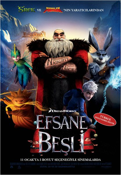 Efsane Beşli ( Rise of the Guardians ) 2012 720p HD Türkçe Dublaj film izle