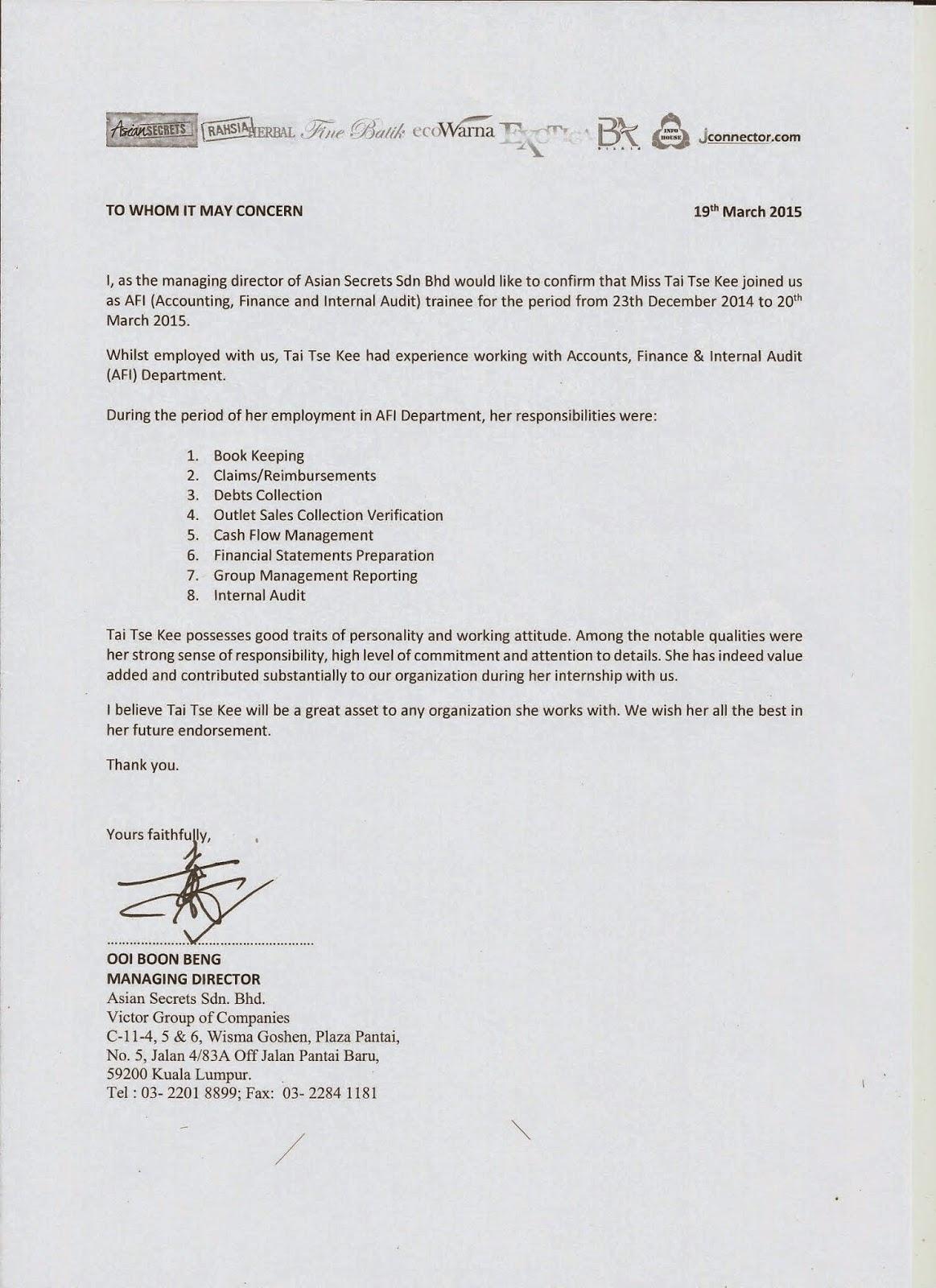 internship e portfolio reference letter