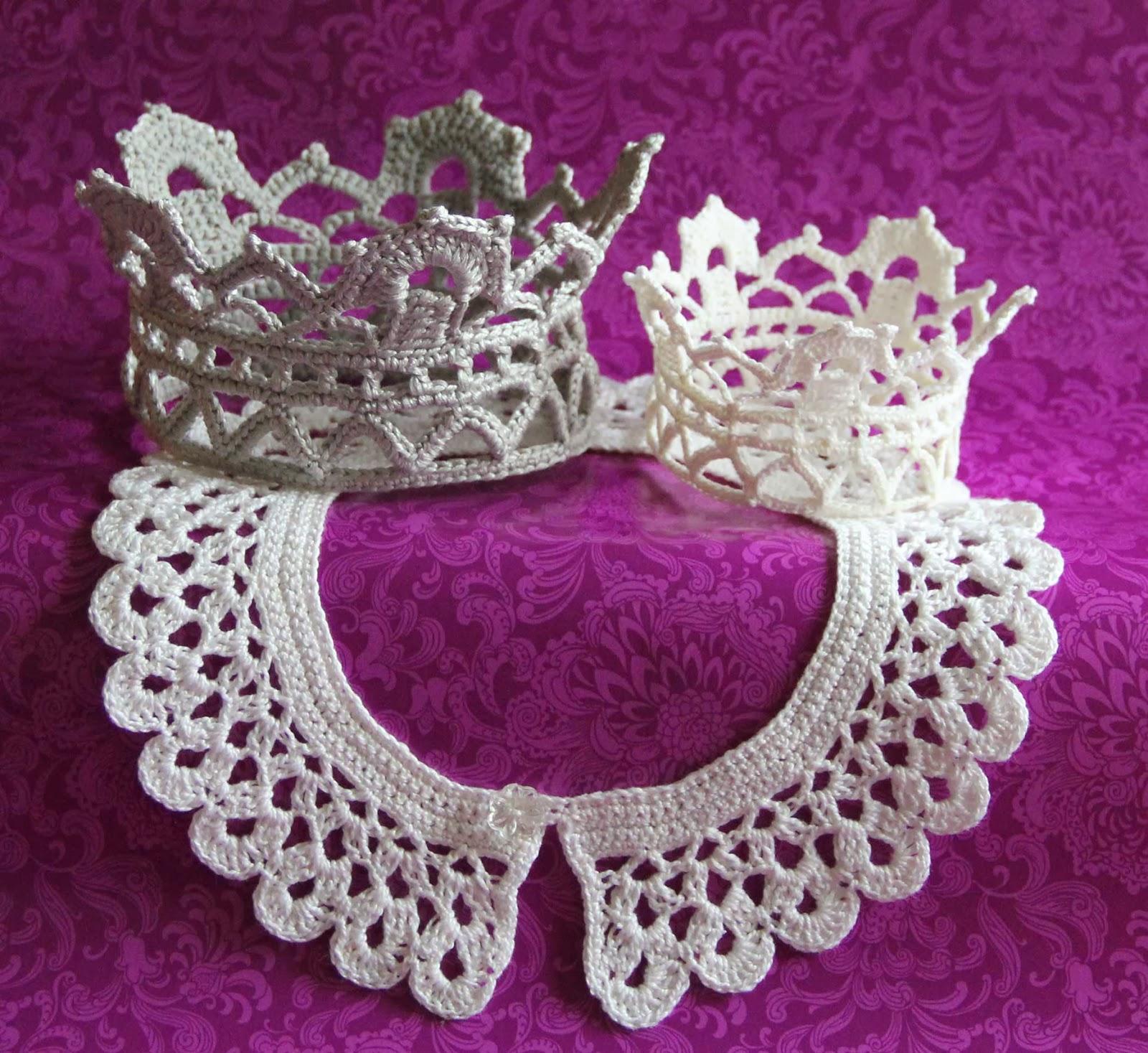 crochet krown lace free patern vintage collar