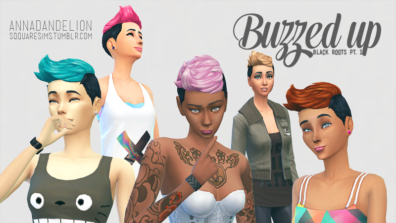 My Sims 4 Blog Buzzed Up Black Roots Hair Recolors By