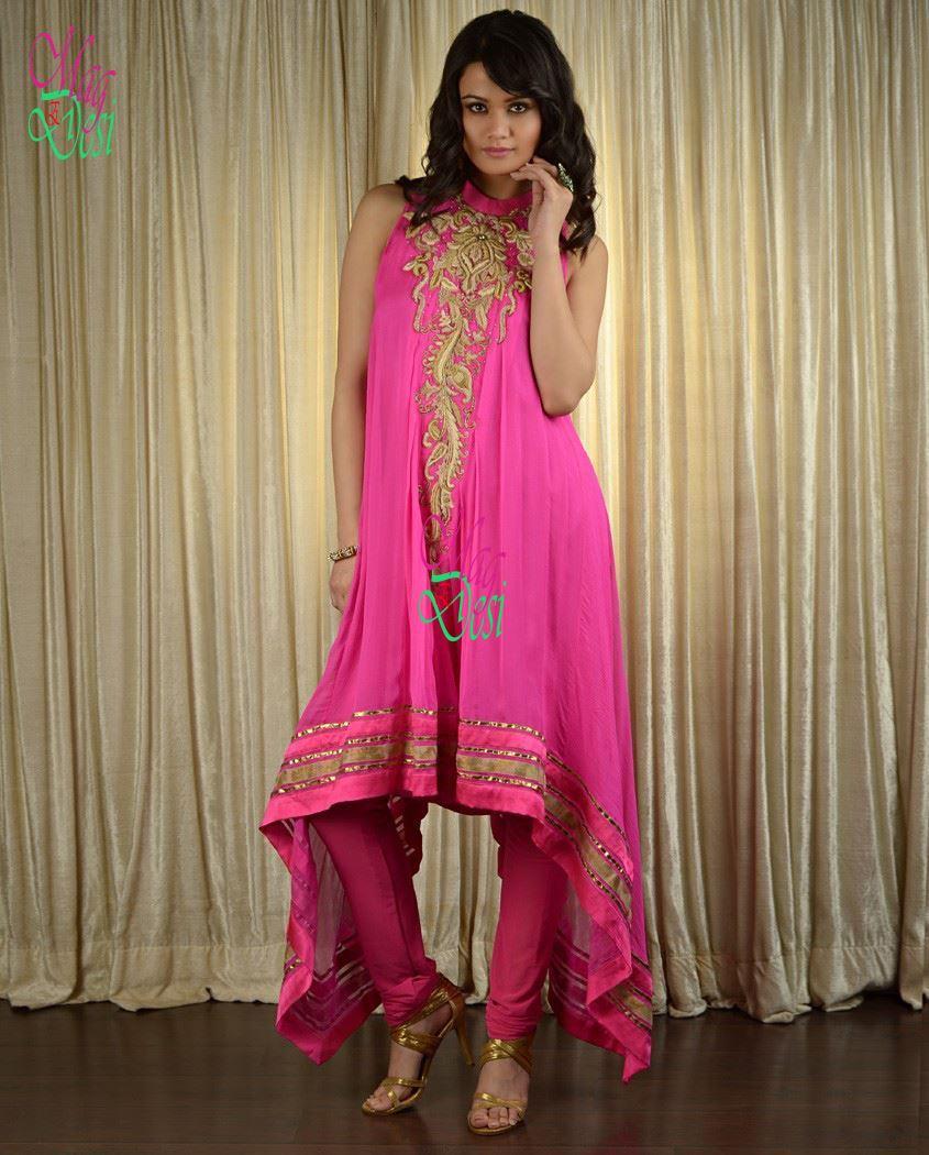 Pink Anarkali & A Line Frocks with Churidar Pajama for Eid