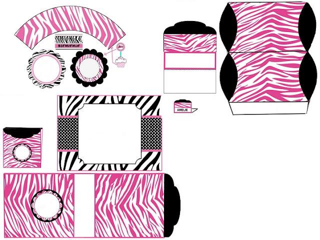 Mini Kit Cebra Rosa para Imprimir Gratis.