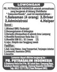 Karir Kerja Terbaru di PD. Putrasalim Indonesia