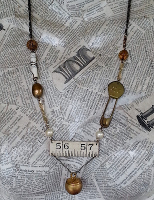 assemblage necklace with antique parts - one of a kind