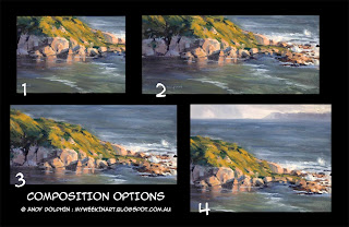 Plein air oil seascape compositions.