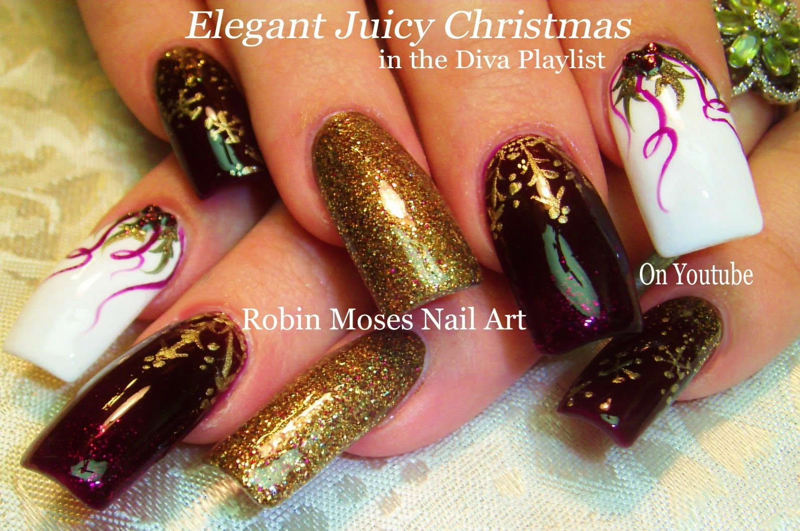 Nail Art Tutorial | DIY Christmas Nail Art | Xmas BLING Diva Nail ...
