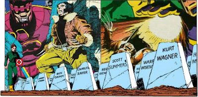 Tumbas de superheroes en Dias del Futuro Pasado