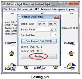 contoh print screen posting data faktur pajak dari aplikasi e-faktur pajak