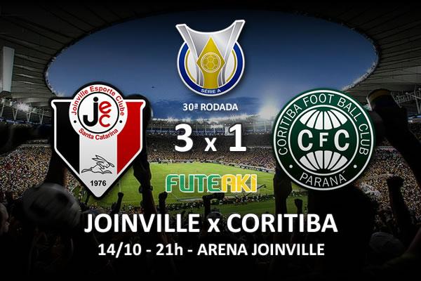 Veja o resumo da partida com os gols e os melhores momentos de Joinville 3x1 Coritiba pela 30ª rodada do Brasileirão 2015.