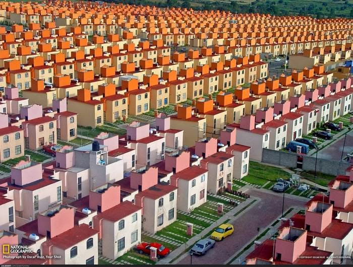 Photographer Oscar Ruiz is behind the shot, above, of a housing development in Mexico