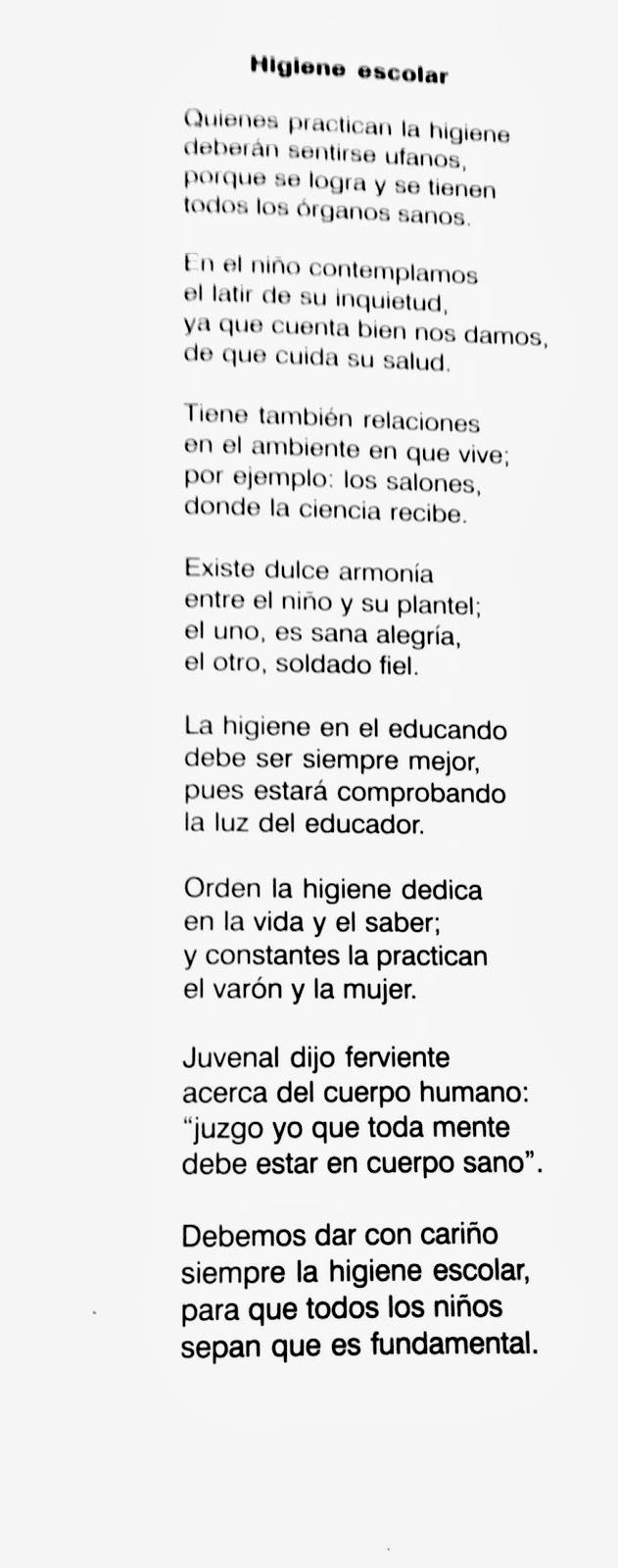 Poesía de la Higiene escolar