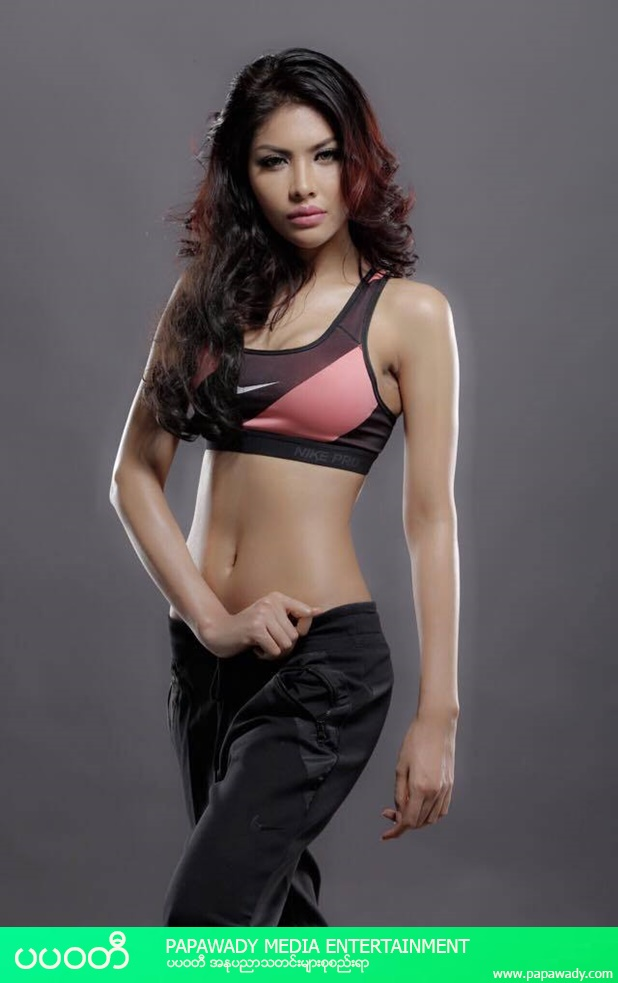 May Yati Zaw Show Off Her Body Figure In American Brand Nike Sports Wear