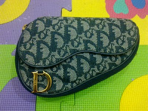 Cristian Dior Vintage Navy Monogram Cosmetic Pochette Bag(SOLD)