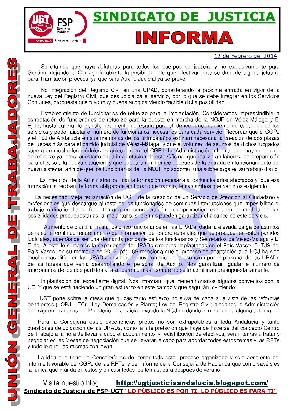 Sindicato de justicia fsp ugt andaluc a nueva oficina for Oficina de empleo velez malaga