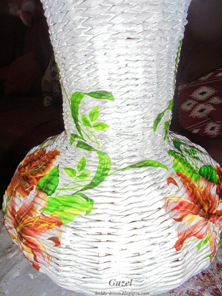 декупаж плетеной вазы