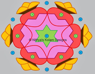 Kolam 98: Pongal Kolam Interlocked dots 13 to 7