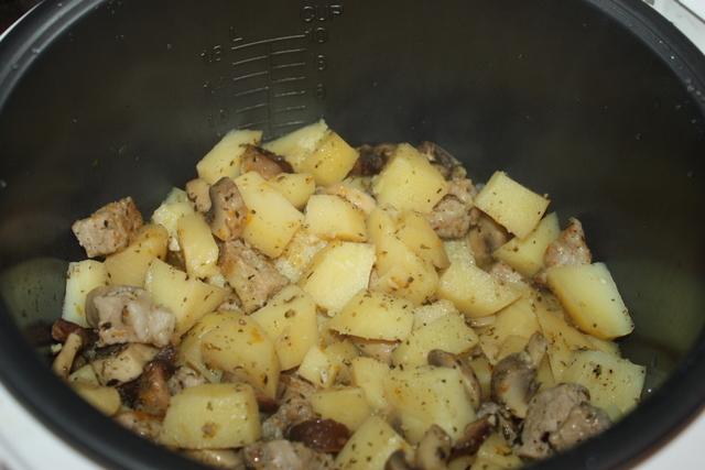 Картошка с грибами с мясом в мультиварке рецепты с фото