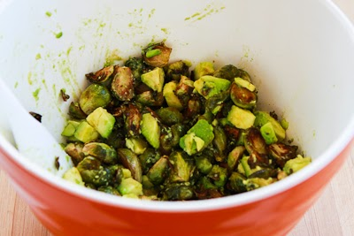 Roasted Brussels Sprouts with Avocados and Pecans found on KalynsKitchen.com