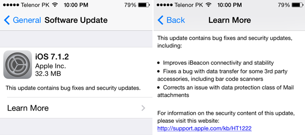Apple iOS 7.1.2 Firmware (Build. 11D257) Features and Changes