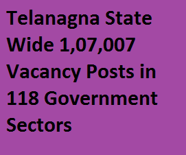 Telangana State Wide 1,07,007 Government Vacancy Posts in 118 Department of Government Sectors