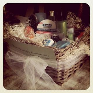 big wedding tiny budget: bathroom basket
