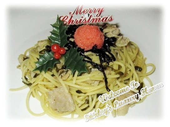 christmas mentaiko pork pickled vegetables spaghetti
