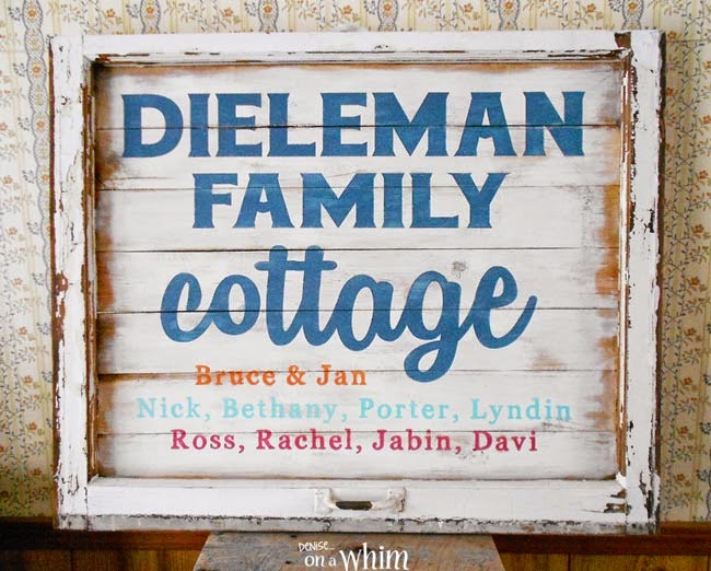 Custom Cottage Sign from a Repurposed Window  | Denise on a Whim
