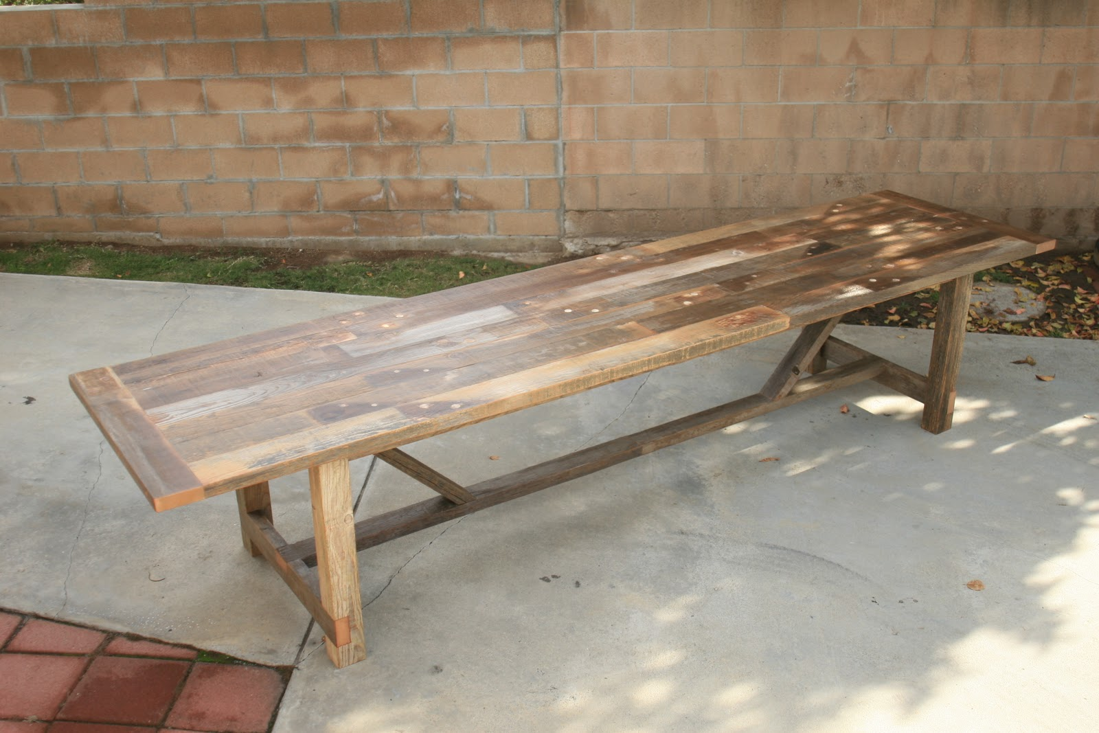 Arbor exchange reclaimed wood furniture 12 foot outdoor for 12 foot table