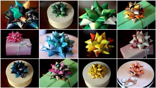DIY Gift Ideas you can make in Under an Hour. (DIY Recycled Paper Bows) The list includes gifts for kids, babies, women, men, and even stocking stuffers, gift wrap, and Christmas decorations.  www.growingslower.com #cheapgift #easydiy