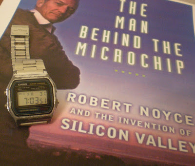 A silvery well-worned Casio digital watch on the cover of Leslie Berlin's biography of Robert Noyce