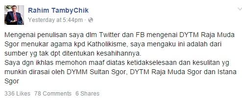 Permohonan maaf Tan Sri Rahim Tamby Chik di Facebook