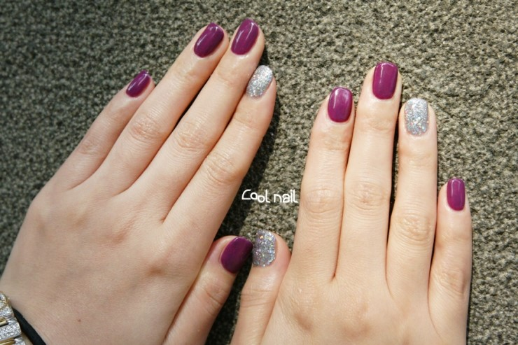 gel nail art with silver glitter, gel polish, Autumn nail, gel art