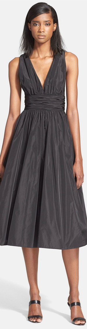 Tracy Reese Shirred Satin Fit & Flare Dress black