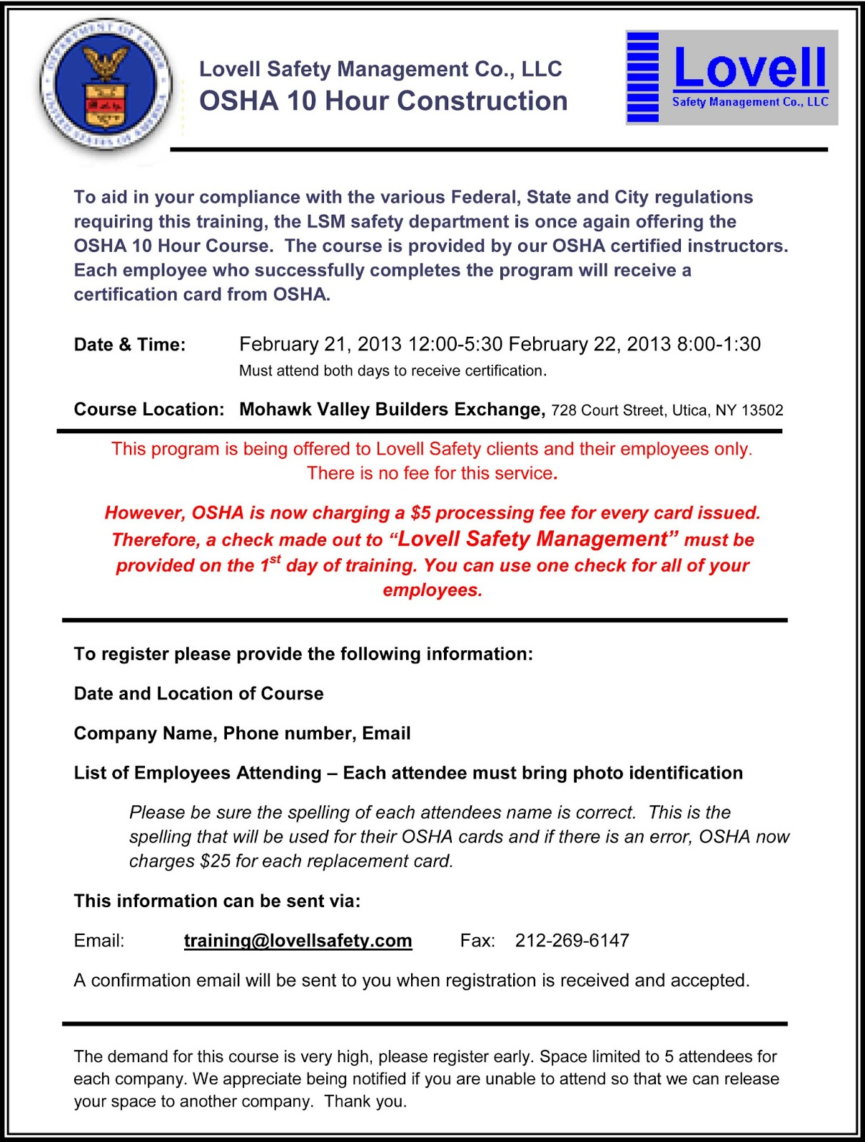 Safety pays osha 10 hour course in construction february 21st pre registration is required please see attached brochure 1betcityfo Images