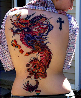 Full Color Dragon and Cross Tattoo Design on Back Body