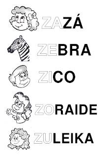 Silabário: za, ze, zi, zo, zu