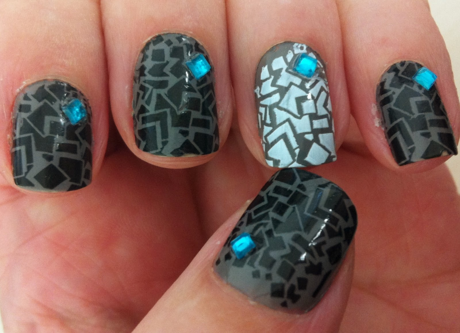 Nail Days Design Gray Konad Nailzy