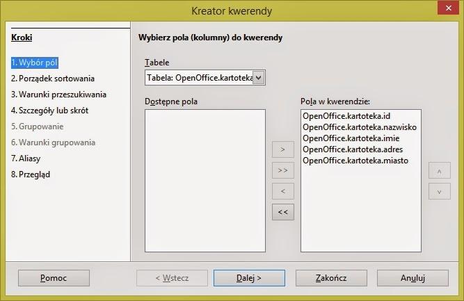 Kreator kwerendy Open Office
