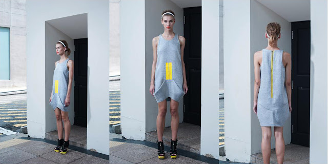 Geometrical dress, grey and yellow