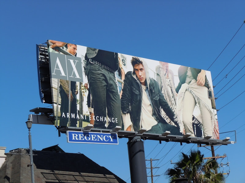 AX male model hoodie billboard