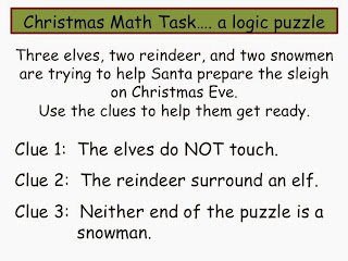 cut these out so they each had their own strip of characters to manipulate as they talked through the clues i gave each person a strip and they cut each - Christmas Logic Puzzles