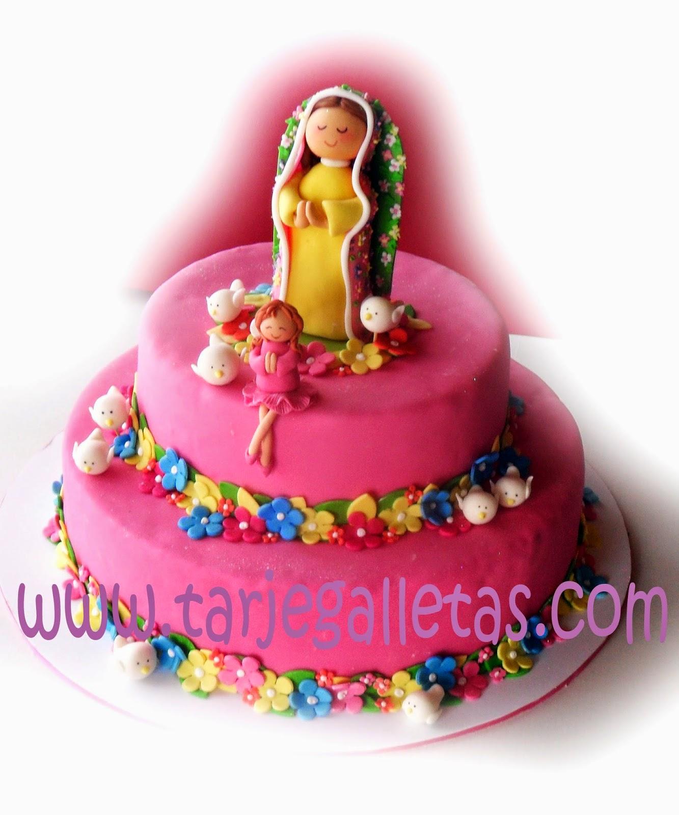 Decoracion Primera Comunion Virgen De Guadalupe ~ TARJEGALLETAS Espectacular torta de Primera Comuni?n, para una ni?a