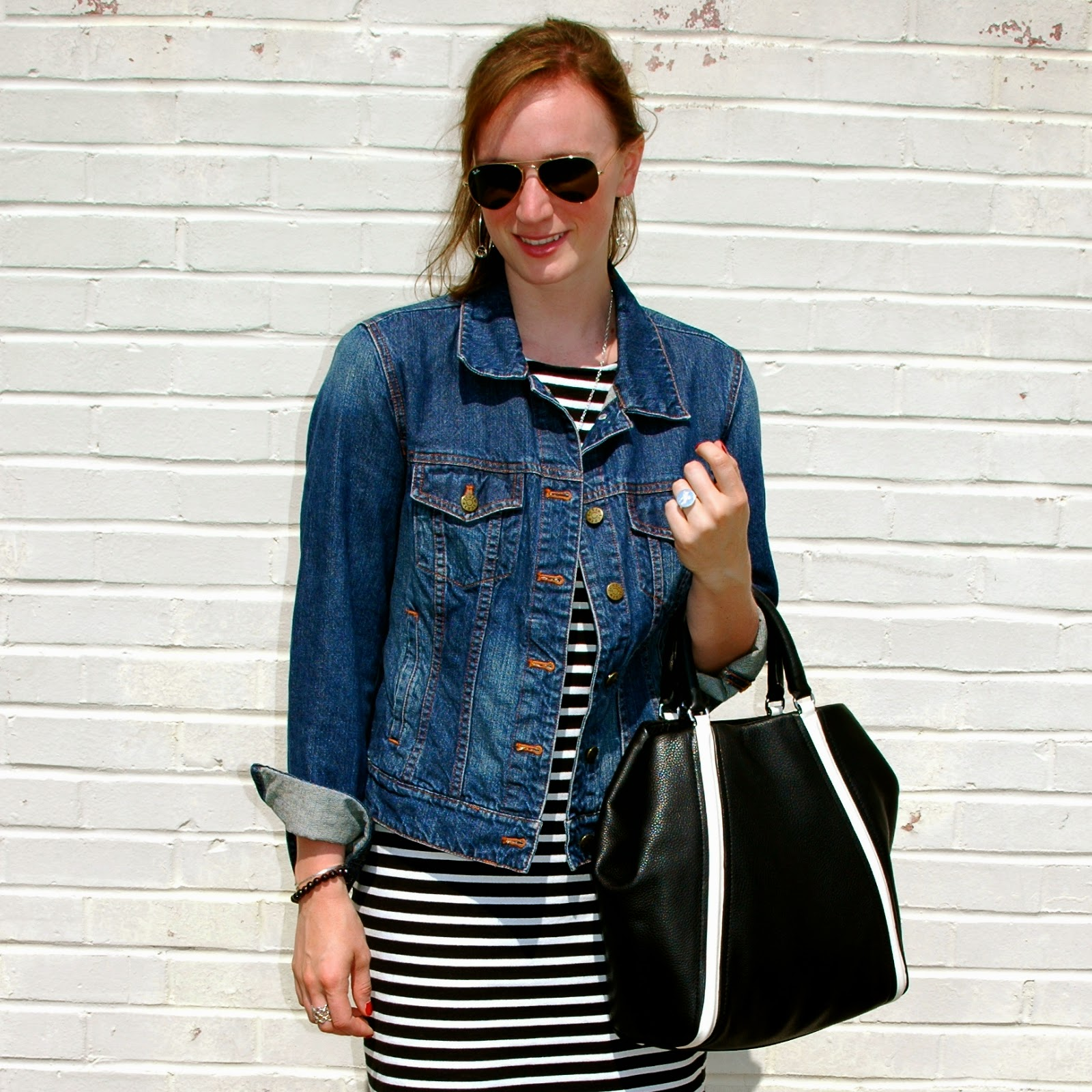Sanctuary Black and White Striped Dress, Gap Denim Jacket, Marc by Marc Jacobs Q Bag, Raybans