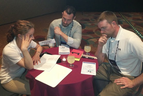 ACSM Quiz Bowl participants Ashley Schroeder, Michael Holmes and Dudley Babb.
