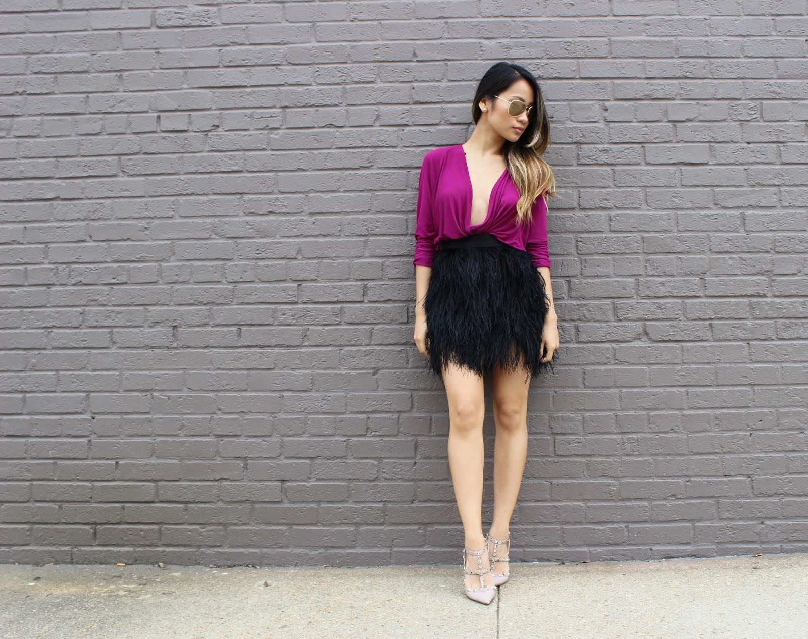 mimi plange, ostrich skirt, helmut lang drape shirt, Valentino rockstud heels,