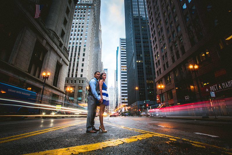 Chicago LaSalle Street Night Engagement Photo